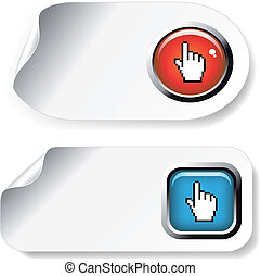 Vector white stickers with button