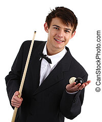 Snooker player - A guy holding a snooker cue and two balls...