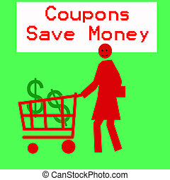 coupon shopping - female figure pushing a grocery cart...