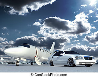 Plane and car - Cg jet plane and car