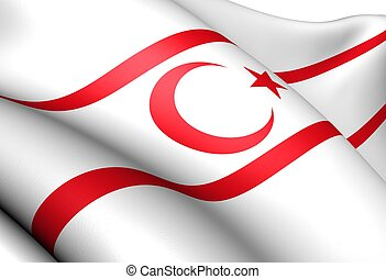 Flag of Turkish Republic of Northern Cyprus. Close up.