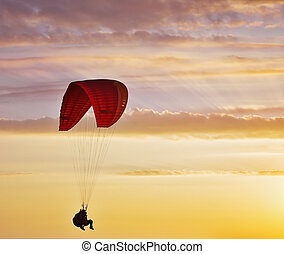 The twilight on a sunset - Flight on an operated parachute...
