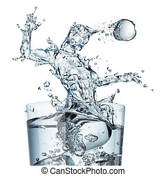 Glass of water with a splash shaped as a soccer player...