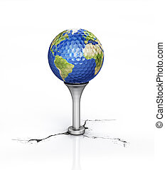 Golf ball with the texture of Earth, placed on tee. - Golf...