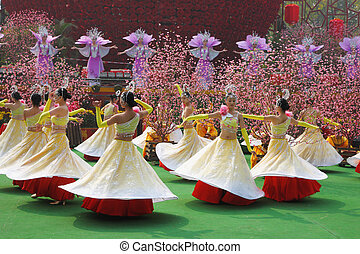 Dance group of girls at the concert - Chinese New Year Dance...