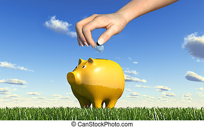 Woman hand inserting a coin into a yellow ceramic piggy bank...
