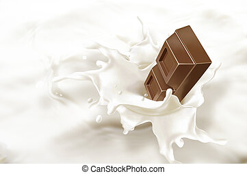 Chocolate block falling into a sea of milk, causing a...