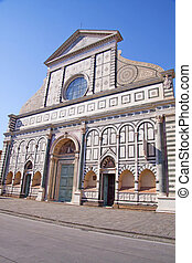 Fresco - The front view of Santa Maria Novella in Florence,...