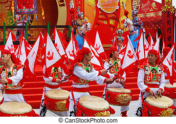 Red and gold drums and red flags - Chinese New Year Gorgeous...