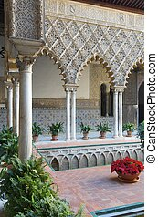 courtyard in the Reales Alcazares, Seville, Andalucia, Spain...