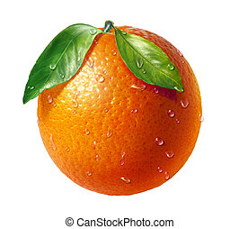 Orange fresh fruit with two leaves and water droplets, on...