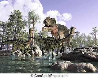 Photorealistic 3 D scene of a Tyrannosaurus Rex, hunting two...