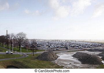 Wozy, lotnisko, zaparkował,  Schiphol