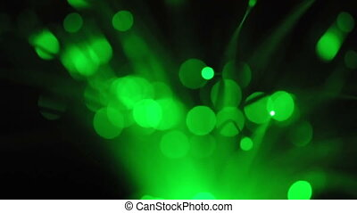Optical fibers of fiber optic cable Green background