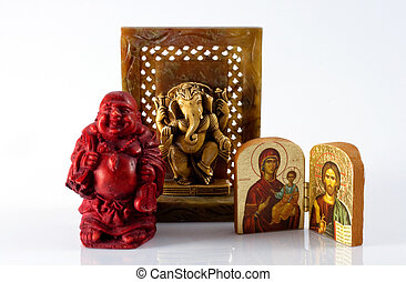 Religious icons - Buddha, Shiva, Jesus and Virgin Mary icons...
