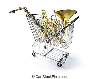 Supermarket trolley, full of wind musical instruments. On...