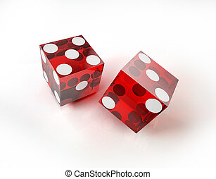 Two casino red dices in action, on white surface.