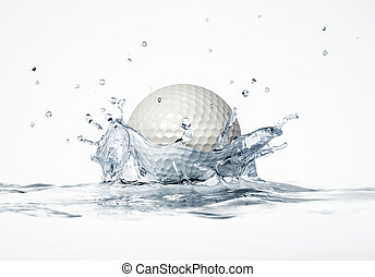 White golf ball splashing into water, forming a crown...