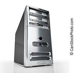 PC tower desktop. Silver on white background.