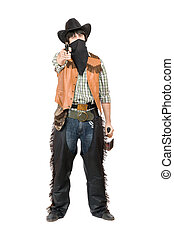 Cowboy with a gun and bottle