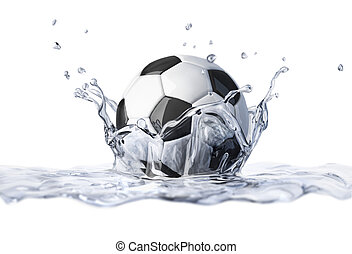 Soccer ball falling into clear water, forming a crown splash...