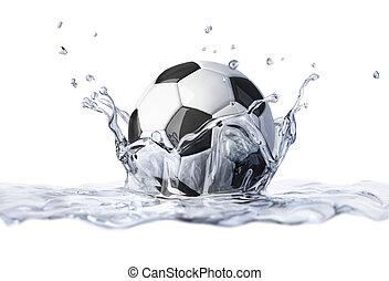 futebol, bola, Queda, claro, água, formando, coroa,...
