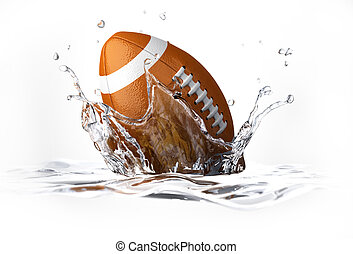 American football ball, falling into clear water, forming a...