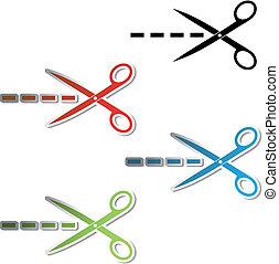 Vector stickers of scissor