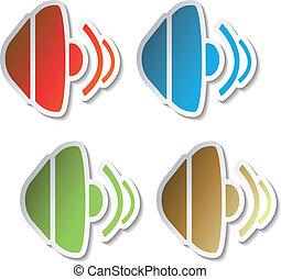 Vector stickers of speaker