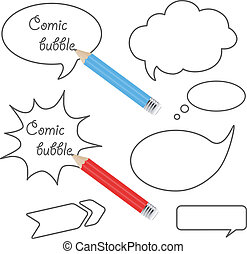 Vector speech bubbles with pencils