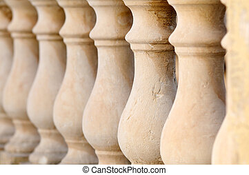 Natural Stone Balustrade - Close up detail with depth of...