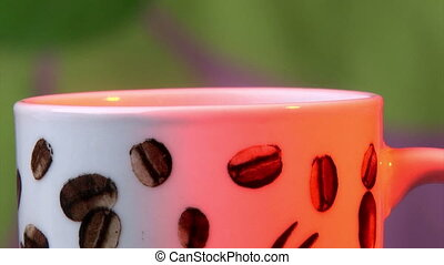Coffee cup, steam Closeup