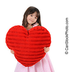 adorable little girl posing with large red heart. isolated