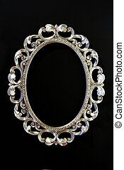 Frame - Antique oval silver frame with floral ornaments