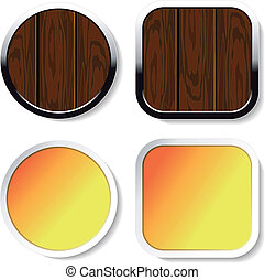 Vector wood buttons and yellow stickers