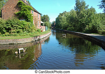 Coalport canal near Ironbridge in Shropshire, UK