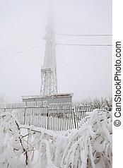 Frozen radio transmitting tower