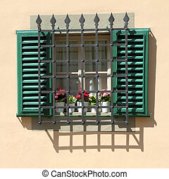 protected window - grid window with shutters and metal grid...