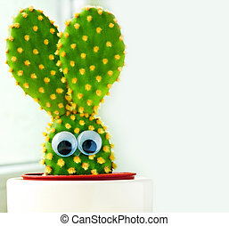 Easter egg and bunny - Closeup of a small cactus in shape of...