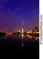 Skyline of Duesseldorf, Germany - Night scene in Duesseldorf...