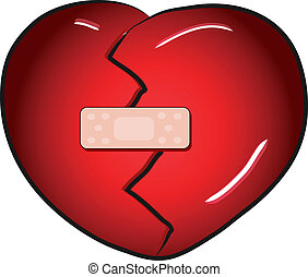 Broken heart with a band aid vector