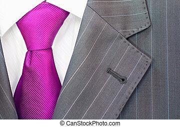 Men's suit - Detail of a men's striped business suit.Pink...