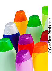 shampoo - Set of colour plastic bottles with shampoo on...