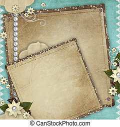 Vintage card for the holiday with frames, flowers on the...