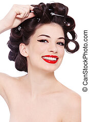 Hairstyle - Young beautiful happy smiling girl with hair...