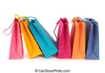 colorido, compras, Bolsas