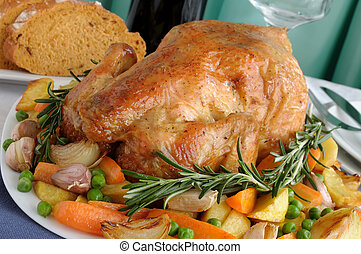 Roasted Chicken with Vegetables - Baked chicken with...