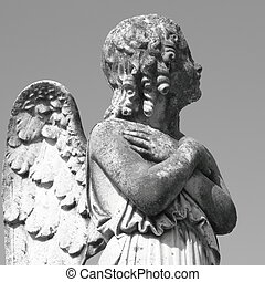 antique cemetery angel figure - on italian monumental...