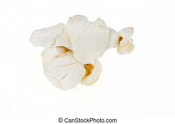 Popcorn Kernel Isolated on White - Popped popcorn kernel...