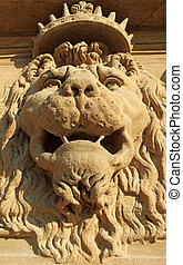 lion king - lion ornament on facade of Pitti Palace in...